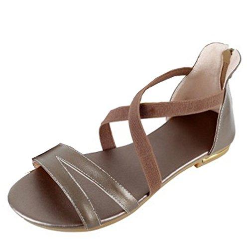 COOLCEPT Mujer Comodo Criss Cross Zapatos Punta Abierta Cremallera Solid Tacon de Vaquero Sandalias Champagne