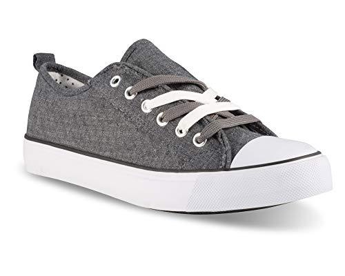 Twisted Women's KIX Lo-Top Frayed Edge Sneakers -KIXLO192CHARCOAL, Size 6
