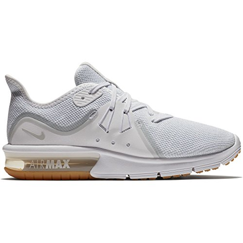 (NIKE Women's Air Max Sequent 3 Running Shoe White/Pure Platinum Size 8 M US)