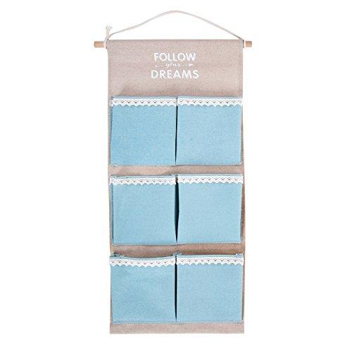 Mirayen H/ängeaufbewahrung Tasche aus Stoff H/ängeorganizer Wandorganizer H/ängenden Beutel 6 Wandtasche Wand Utensilientaschen f/ür Kinderzimmer Schlafzimmer blau
