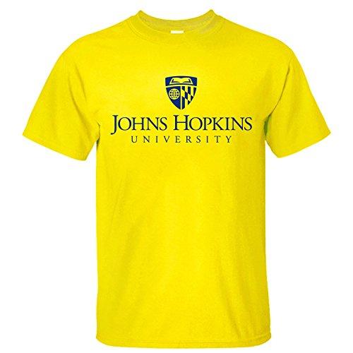 Men's Top The Johns Hopkins University Logo Soft Cotton Short Sleeve T-Shirt yellow L (Johns Hopkins Shirt)