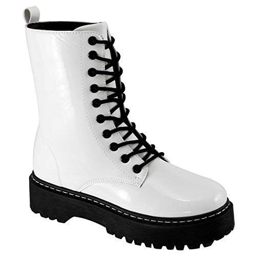 Weeboo Lace Up Hi Top Combat Bootie - Fashion Platform Boots for Women