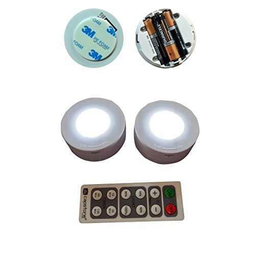Capstone 6 Led Wireless Puck Lights With Remote Control White