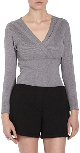 Pull V Gris Femme Gris Chin Uni longues Manches Col Morgan 6fdwPxUqf