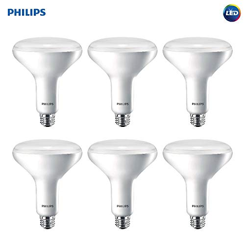 Philips LED Dimmable BR40 Soft White Light Bulb with Warm Glow Effect 800-Lumen, 2700-2200-Kelvin, 10-Watt (65-Watt Equivalent), E26 Base, Frosted, 6-Pack (Renewed)