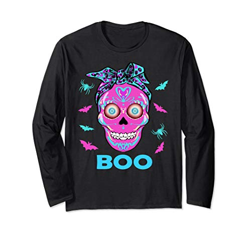 Halloween Sugar Skull in Bandana with Bat and Spider Boo Long Sleeve T-Shirt -