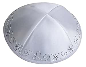 Kippah Satin silver dome 15 cm