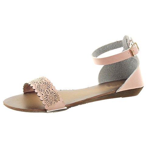 Sopily - damen Mode Schuhe Sandalen Blumen Perforiert Schleife - Rosa