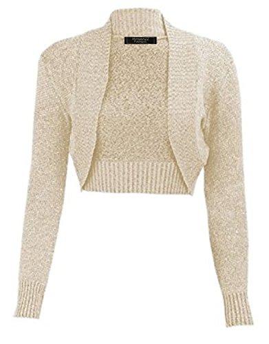 Ladies Girls Lurex Metallic Ribbed Collar Cropped Shrug US Size 6-24 (S/M(US 6-8), Stone/Gold)