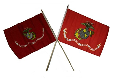 (ALBATROS 12 inch x 18 inch EGA Eagle with EGA USMC Retired Serving Stick Flag for Home and Parades, Official Party, All Weather Indoors)
