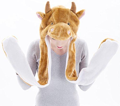 [Varied Animal Hat Gloves Scarf 3 In 1 Set - BIG HIT GIFT FOR KIDS/BOYS/GIRTLS in 4-10 yr - Costume Hood Toy (Brown Cow)] (Brown Rabbit Ears Costumes)