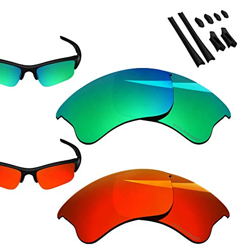 - BlazerBuck Anti-salt Polarized Replacement Lenses for Oakley Flak Jacket XLJ - Fire Red & Emerald Green