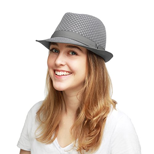 THE HAT DEPOT 200G1015 Classic Cool Soft Mesh Fedora hat (L/XL, Grey) (Grey Fedora Hat)