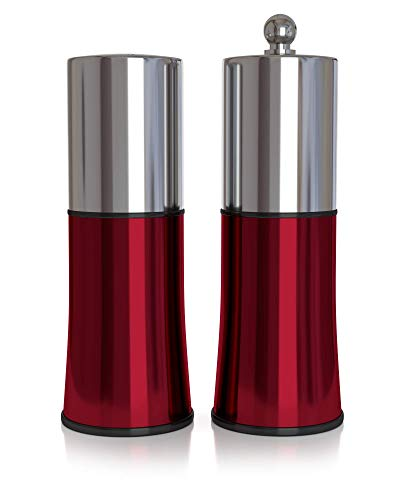 Zimberlyn - Premium Salt Shaker and Pepper Grinder Set - Designed for Special Occasions and Holiday Parties; Quality Stainless Steel, Red - Adjustable Coarseness Pepper Mill ()