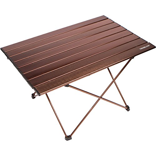Trekology Portable Camping Side Tables with Aluminum Table Top: Hard-Topped Folding Table in a Bag for Picnic, Camp, Beach, Boat, Useful for Dining & Cooking with Burner, Easy to Clean (Brown, Large)