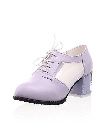 ZQ hug Zapatos de mujer - Tacón Robusto - Tacones / Puntiagudos - Tacones - Exterior / Vestido / Casual - Semicuero - Negro / Morado / Blanco , purple-us10.5 / eu42 / uk8.5 / cn43 , purple-us10.5 / eu purple-us9 / eu40 / uk7 / cn41