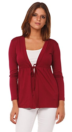 Waist Tie Front - Glamour Empire. Womens Jersey Tie Cardigan Top Empire Waist. Long Sleeves. 235 (Crimson, US 14/16, 4XL)