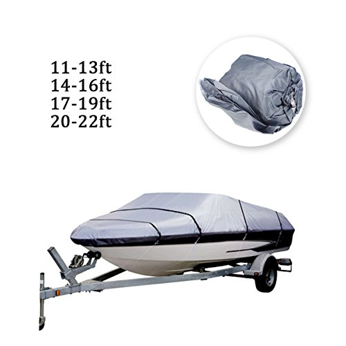 Lemonda Heavy-Duty Boat Cover, Waterproof 210D Boat Covers Fit V-hull Tri-hull Fishing Ski Pro-style Bass Boats (Grey, 20-22ft)