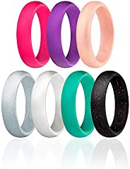 ROQ Silicone Wedding Ring for Women, Affordable Silicone Rubber Wedding Bands, 7 Packs, 4 Pack & Singles -