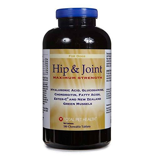 Dog Supplements 60 or 180 Count Hip & Joint Maximum Strength Tablet Vitamins(180 Tablets) by Total Pet Health