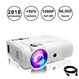 Projectors,PoFun(2018 Upgraded)+50% Lumens Mini Portable Projector,50,000 Hour LED Full HD 1080P Video Projector with 150''Display and Compatible Fire TV Stick,HDMI,VGA,AV,SD (L8 White)