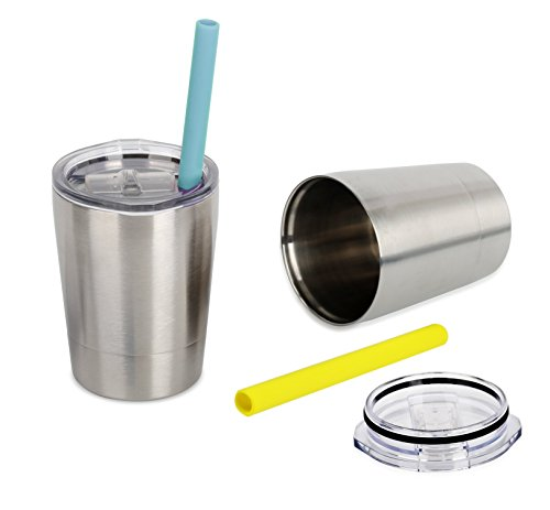 (Colorful PoPo Kids Stainless Steel Cup Lovely Small Rambler Tumbler Sippy Cup with Lid and Silicone Straw, 8.5 OZ Silver, Set of 2)