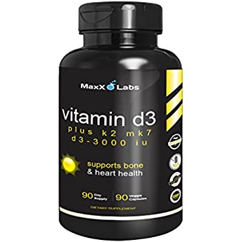 Vitamin D3 K2 MK-7 Supplements ☆ New ☆ Full 3,000 IU Per Capsule Plus 115mcg MK7 from Natto - Natural, Effective - Vitamin K2 Supports Bone and Heart ...