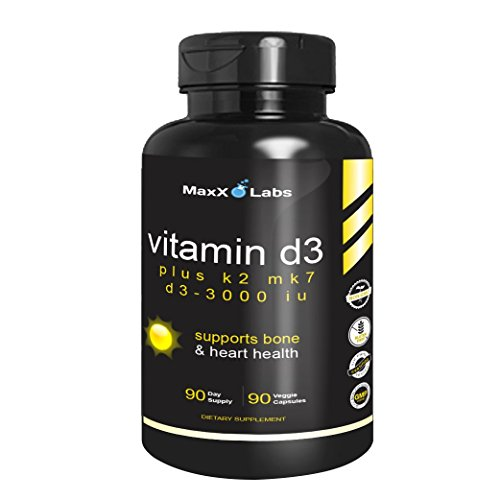 Vitamin D3 K2 MK-7 Supplements ★ New ★ Full 3,000 IU Per Capsule Plus 115mcg MK7 from Natto - Natural, Effective - Vitamin K2 Supports Bone and Heart Health - Gluten Free - 90 Capsules (Vitamin D3 Mk7)