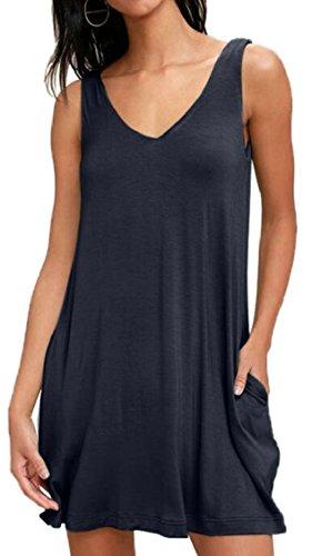 Tunic Shirt Blue V T Casual Women's Dress Neck Navy Swing Loose Sleeveless Fit Jaycargogo wxSCqRpI