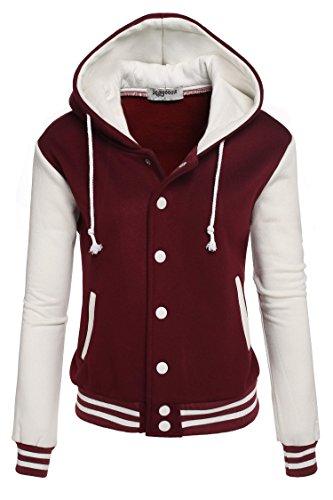 Zeagoo Women's Fleece Varsity Baseball Hoodie Jacket 41AUBvd1G8L