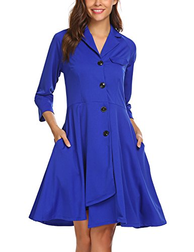 ELESOL Women Lapel Single Breasted Overcoat Long Swing Coat Jacket Blue XL