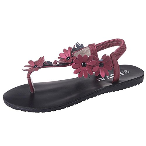 FEITONG Mujer Zapatos planos Rebordeado Bohemia Sandalias de ocio Peep toe Dar la vuelta Flops Zapatos Rojo