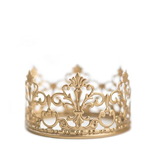 (Gold Crown Cake Topper, Vintage Crown, Small Gold Wedding Cake Top, Princess Cake, The Queen of Crowns)