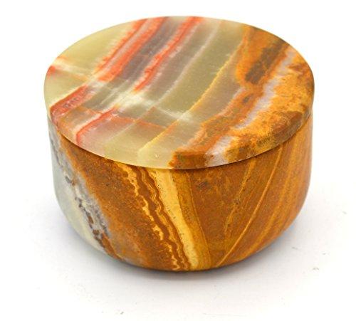 (Mossy Green Stone Round Small Ring Box, 3
