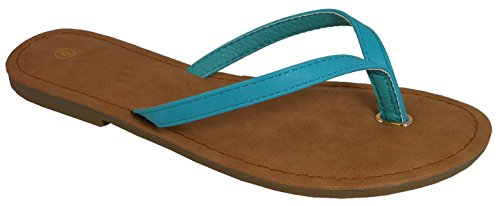 Cambridge Utvalda Womens Klassiska Avslappnade Rem Flip-flop Flat Sandal Aqua