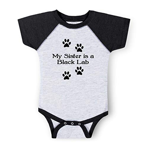 - My Sister is A Black Lab Short Sleeve Taped Neck Boys-Girls Cotton Baby Baseball Raglan Bodysuit Jersey - Gray Smoke, 6 Months