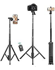 Selfie Stick Tripod,Rimposky 137cm Extendable Phone Tripod Stand with Bluetooth Remote,Portable Tripod for for iPhone & Android Phone,Heavy Duty Aluminum, Lightweight