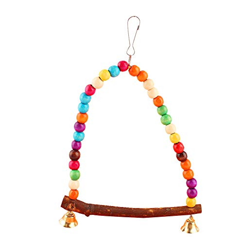 HEEPDD Bird Swing, Colorful Beads Parrot Standing Perch Hammock Hanging Toy with Bells Cage Accessories for Medium and…