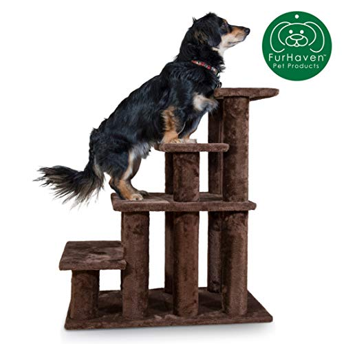Furhaven Pet Stairs | Steady Paws Easy Multi-Step Pet Stairs Assist Ramp for Dogs & Cats, Brown, 4-Step