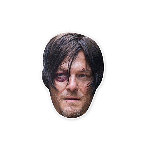 "[Beaten Walking Dead Daryl Mask by RapMasks - 12"" x 9"" Waterproof Laminated] (Daryl Dixon Costumes)"
