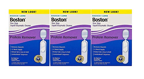 Bausch and Lomb Boston One Step Liquid Enzymatic Cleaner and Protein Remover for Hard Rigid Gas Permeable Contact Lenses 12 Count - Pack of 3