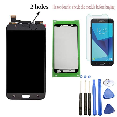 Eaglestar J727 Full LCD Assembly with Touch Screen Digitizer and LCD Pre-Installed Replacement with Pre-Cut Frame Tape for Samsung Galaxy J7 2017 J7 Sky Pro SM-J727T J727P J727A+Tools-Black