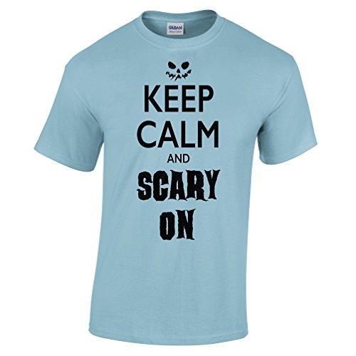 (Halloween T Shirt Keep Calm And Scary On Sky Blue)