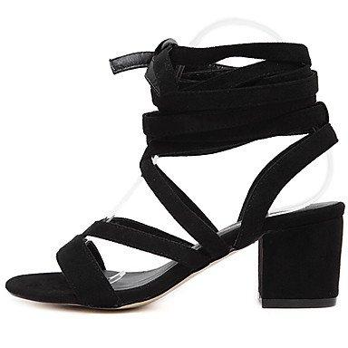 LvYuan Mujer-Tacón Robusto-Zapatos del club-Sandalias-Vestido-Vellón-Negro Marrón Claro Black