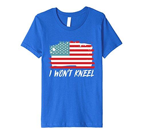 Us National Costume For Kids (Kids I Won't Kneel US Flag National Anthem Novelty T-Shirt 6 Royal Blue)