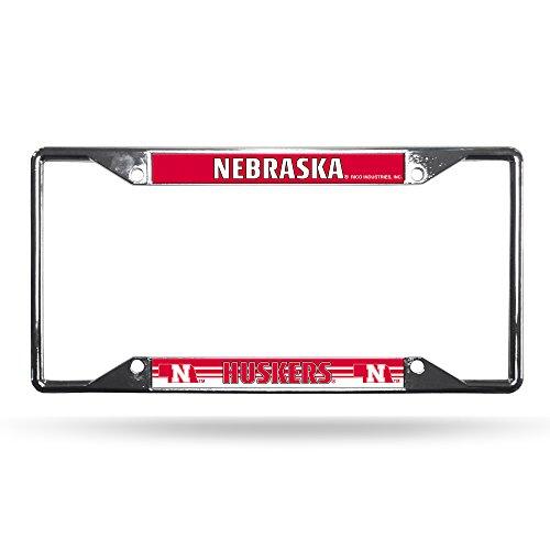 Rico Industries NCAA Nebraska Cornhuskers Easy View Chrome License Plate Frame