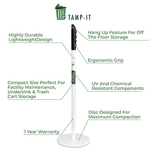 TAMP-IT Mighty Mini Manual Trash Compactor Frees Up Space in Bins, Receptacles, Dumpsters Reduce Trips to Dispose Trash Cost Effective (18 - 7 1/2 D)
