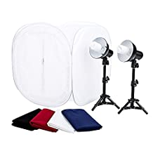 "StudioPRO 24"" Photo Studio Portable Table Top Product Photography Lighting Tent Lightbox Kit - Includes 4 x Backdrops, 2 x Light Stands, 2 x 30W Daylight Fluorescent Bulbs"