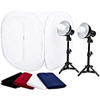 Fovitec StudioPRO 24 Photo Studio Portable Table Top Product Photography Lighting Tent Lightbox Kit - Includes 4 x Backdrops, 2 x Light Stands, 2 x 30W Daylight Fluorescent Bulbs