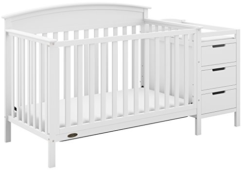 Graco Benton 4-in-1 Convertible Crib and Changer (White) - Attached Changing Table with Water-Resistant Changing Pad, Space-Saving Storage with 3 Drawers and 3 Open Shelves